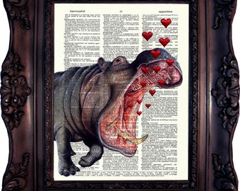 Engagement Gift Idea Hippo and Hearts Valentine's Day Gift Hippo Art print Wife Gift Girlfriend Gift Boyfriend Gift Groom Gift Bride C:508