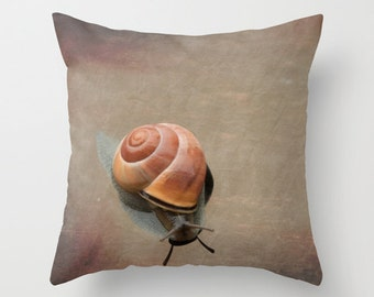 Pillow Cover, Snail, Snail Pillow, Snail Photography, Animal Pillow, Nature Art, home decor, throw pillow cover, Swiss snail