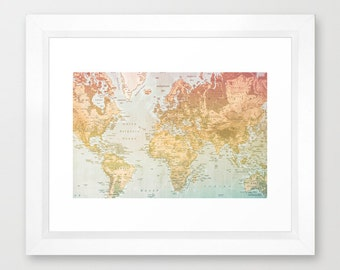 Instant Photo Download, Digital Download, World Map, Pastel World, Pastel Color, Wall Decor, Map, Continents, Countries, Colorful World