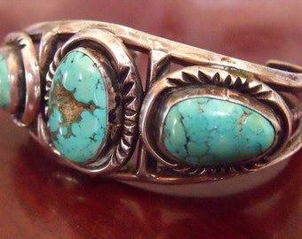 Vintage Navajo Turquoise and Silver Bracelet - Native American Cuff Jewelry