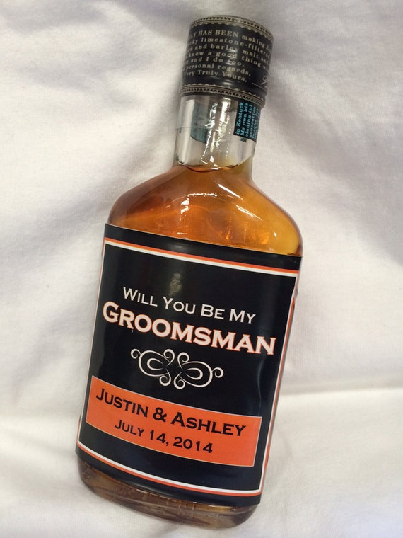Will you be my groomsman wedding liquor bottle labels whiskey for Groomsman liquor bottle labels