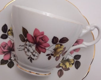 Royal Ascot Fine Bone China Tea Cup and Saucer Pink Yellow Roses White Flowers Gold Trim