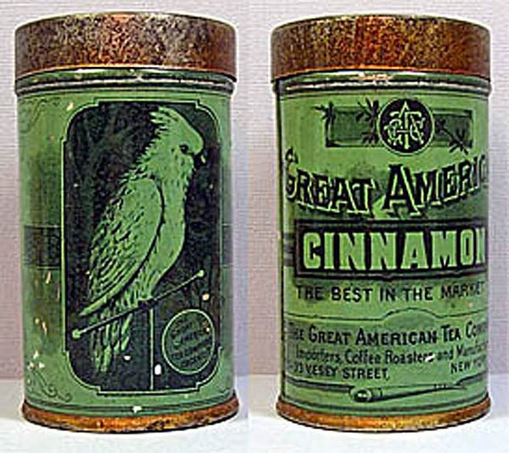 Great American Cinnamon Vintage Spice Can with Cockatoo on the can
