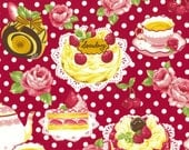 """Cakes and Polka Dots RED 100% Cotton ~ 42"""" Wide ~ Sold by the Yard"""