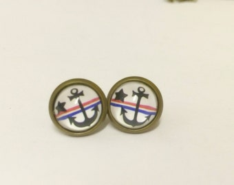Sailor anchor sea nautical navy  post studs earrings