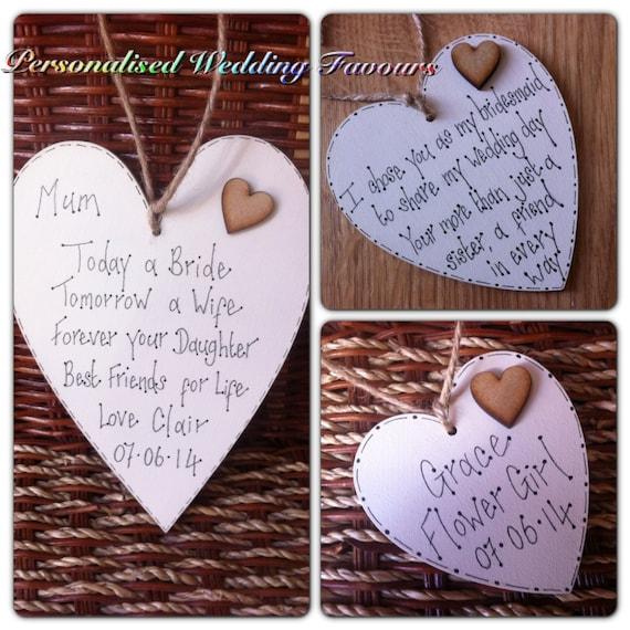 Personalised Wooden Heart Wedding Gift : Personalised Wooden Heart Plaques Wedding Favours Bridesmaid Gift ...