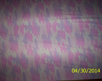 New Pink and Purple Baby Camo 100% cotton fabric by the yard and 1/2 yard (Camouflage)