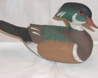 Duck - Wooden - Signed - Vintage