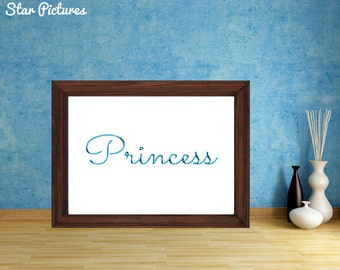 Princess sign. Wall art decor. Printable art. Blue lettering with the word Princess.