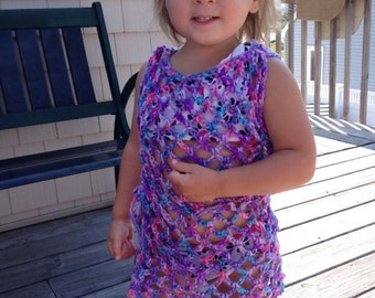 Children's crochet bathing suit cover up.