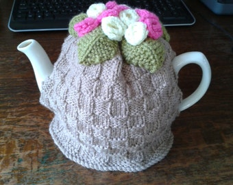Shabby chic/vintage style hand knitted basket weave & roses tea cosy
