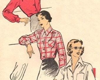 New York Pattern 1161 Smartly Tailored Blouse 1940's / SZ16 FACTORY FOLDS