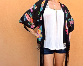 Chiffon Floral Kimono-Sheer Swimsuit CoverUp