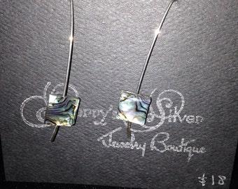 Sterling Silver Long Dangle Earrings with Paua Shell