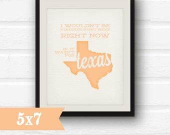 Texas Art -  Peach Texas Decor - - 5x7 Print