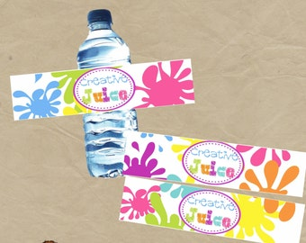 SALE - Creative Juice  Paint Art  Birthday Party Water Bottle Wraps