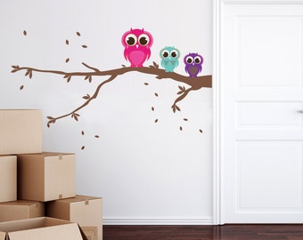 Patterned Owls on a Branch Wall Sticker