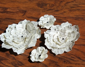 8 Paper Flowers from Vintage Church Hymnals