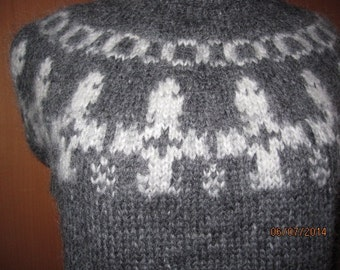 "Grey traditional Icelandic sweater ""Lopapeysa"" with shoulder pattern  Adult sweater hand knitted out of pure Icelandic lambs wool"