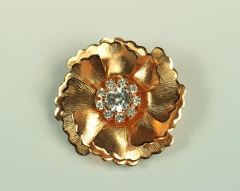 Gold Flower Brooch with Rhinestone Center