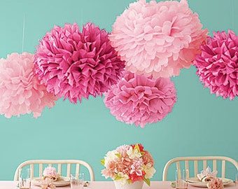 Tissue Paper Flowers set of 50 - Hanging Flowers - Paper Pom Poms - Paper Balls - Wedding set - Birthday decorations