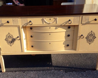 SOLD to Linda-Vintage Pale Yellow Mahogany Buffet Table Credenza