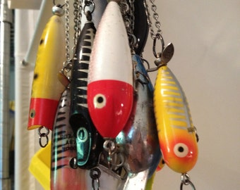 Allure vintage fishing lure necklace. Each sold separately, each is unique. by artfink. not only for pisces...