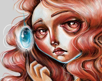 Soul Gem Scamp Art Print 8 x 10 Pretty Red Head Big eyed Girl Pop Surrealism Contemporary Lowbrow digital painting