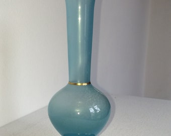 19th Century French Blue Opaline Glass Bud Vase with Gilt Detail