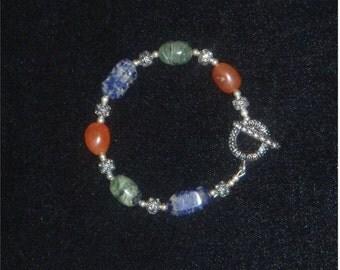 Gemstone Bracelet - Carnelian, Lapis Lazuli, and Green Opal / Second Chakra, Fourth Chakra, Fifth Chakra