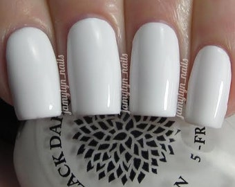White nail polish by Black Dahlia Lacquer - Oriental Lilies -- vegan, 5-free and handmade