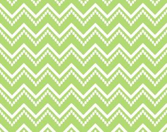 SALE! Ranunculus Green Beaded Chevron 5AJA4 Audrey Jeanne for In The Beginning Fabrics, Chevron, Green, White 1 Yard