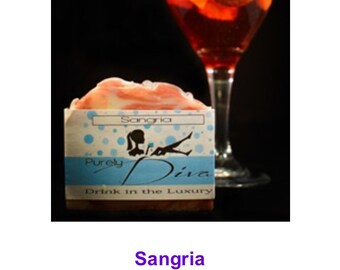 Purely Diva (pure ingredients with Diva style) Sangria soap bar with high loadings of natural oils and butters!