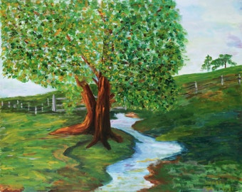 Fine Art Print,Giclee, Impressionistic, Landscape, greens and browns**ships free**