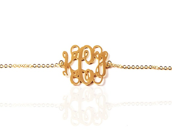 Rose Gold Monogram Bracelet/1 inch Personalized Monogram/18k gold plated bracelet