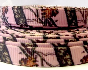 By the yard PINK REAL TREE Camouflage Grosgrain Ribbon great for Scrapbooking & Hair Bow Making