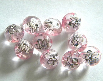 10 Crystal Pink Flower Buttons - 12mm