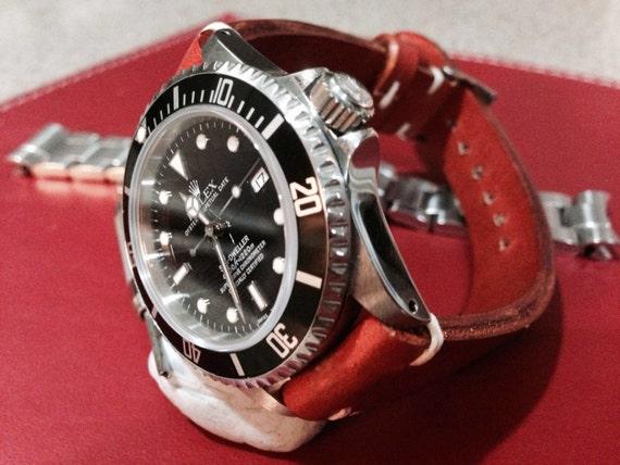 Genuine leather watch band, handmade orange color Leather watch strap For Rolex Watch 18mm/19mm/20mm with 16mm buckle