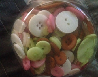 Jar of buttons--Plantation--white, pink, brown, green