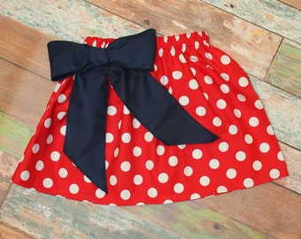 Patriotic Red Polka Dot Skirt,Fabric Bow,July 4 Skirt,Twirly Skirt,Fabric Choice