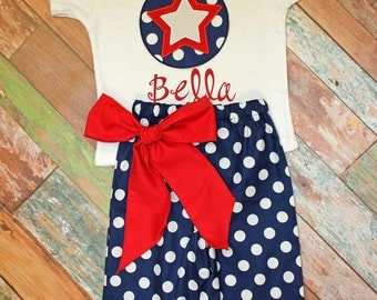 July 4th Girls Capri Set,Patriotic Star Capri Set,Shorts,Pants,Capris,Fabric Choice