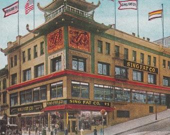 1915 Advertising Postcard Sing Fat Co San Francisco Chinese Bazaar, Unused