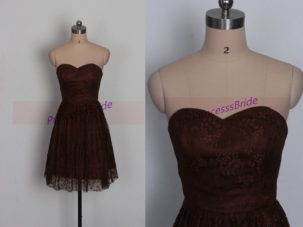 Short dark brown lace bridesmaid dress in 2015cute sweetheart for Brown lace wedding dress