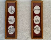 "Vintage San Francisco Paintings Pair, City Scenes, Pen and Ink Drawings, Framed Wall Hangings, 4 3/8"" x 15"""