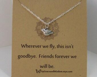 Wherever We Fly This Isn't Goodbye,Friend,Friendship Necklace,Friends,Necklace,Charm,Sparrow,Minimalist,Simp,Bird,Bird Necklace,Silver Bird,