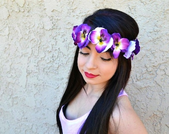 Adjustable Flower Headband - Flower Crown - Pansy Headband - Purple Flowers - Hippie Headband - Festivals - Raves