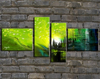 original painting,city painting,modern abstract painting for home decor,framed,ready to hang,huge 160x70cm-NE26