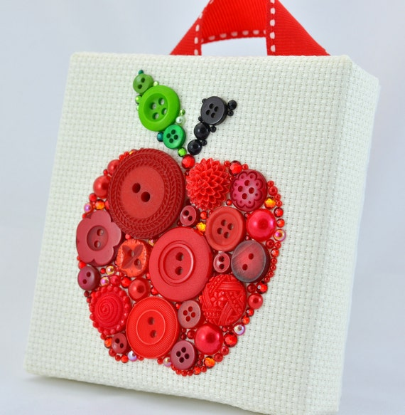 Bouton art pomme rouge d coration tenture murale apple for Decoration pomme rouge