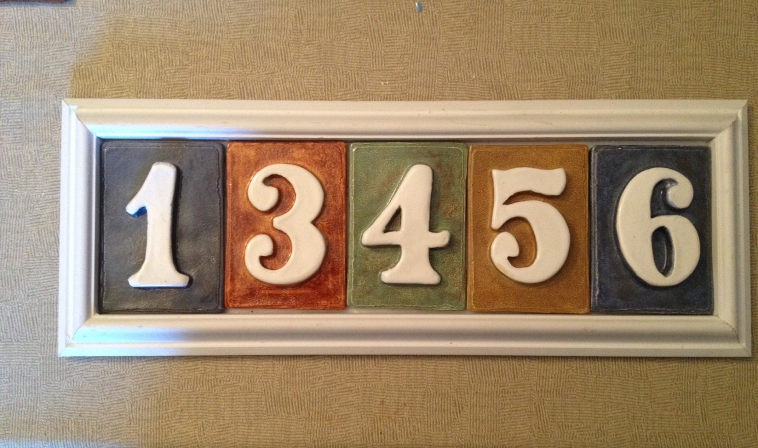 house number tile plaque 5 number style pvc by applewoodpottery. Black Bedroom Furniture Sets. Home Design Ideas