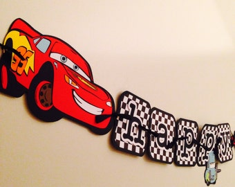 Cars Birthday Banner, Disney cars banner, card party!